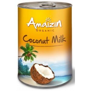COCONUT MILK - NAPÓJ KOKOSOWY BEZ GUMY GUAR W PUSZCE (17 % TŁUSZCZU) BIO 400 ml - AMAIZIN